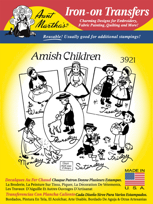 Embroidery Transfer Pattern Aunt Martha's® #3921 Amish Children