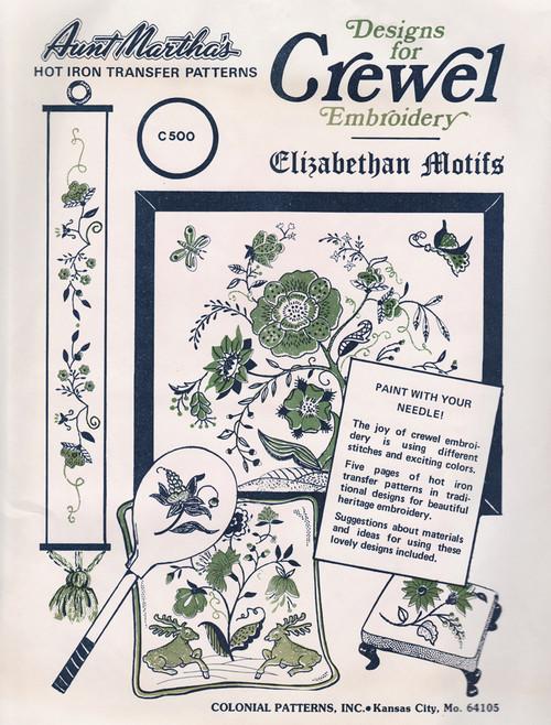 Aunt Martha's #C500 Crewel Embroidery Elizabethan Motifs