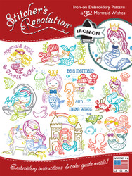SR32 Mermaid Wishes Stitchers Revolution hand stitch embroidery transfer pattern