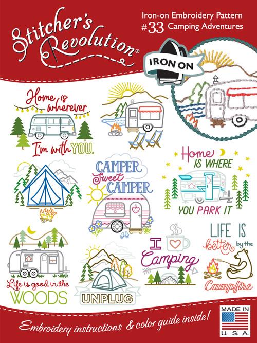 SR33 Camping Adventures Stitchers Revolution® hand stitch embroidery transfer pattern