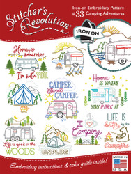 SR33 Camping Adventures Stitchers Revolution® hand stitch embroidery transfer pattern