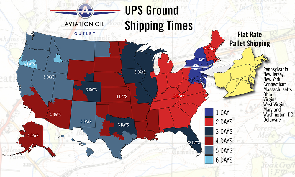 UPS Ground Shipping estimates from our warehouse in Pennsylvania - Aviation Oil Outlet