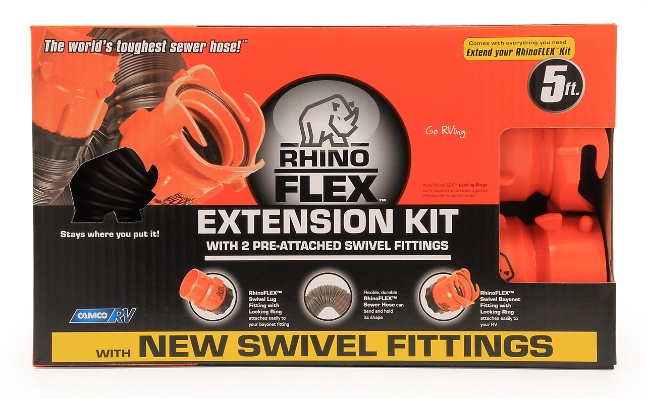 Camco Rhinoflex 5 Sewer Hose Extension W Swivel Bayonet Lug Rvsupplies Com