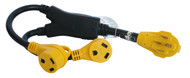 """Cynder RV Yellow 50 Amp Male """"Y"""" Adapter to Two 30 Amp Female"""