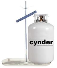Cynder 30 lb Double Bottle Rack Propane Tank Cylinder Kit w/ White Tray