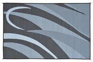 Reversible Outdoor Patio Mat/Rug/Carpet, Black Silver