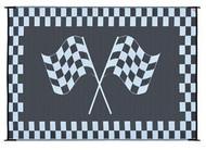 Reversible Outdoor Patio Mat/Rug/Carpet, Black White Racing Flag, 8 x 20