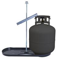 Dual Bottle Rack 20lb Propane Tank Cylinder Kit w/ Black Tray