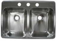 Stainless Steel Double Sink, 25x17