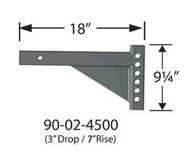 "Equal-i-zer Weight Distribution Hitch Shank - 13"" rise/ 3"" drop x 18"" Length"