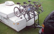 Pro Rac Bicycle Carrier- 4 Bike for Pop Up Tent Trailer with Tire Pads