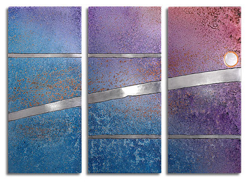 """""""Reflection"""" triptych, in evening sky color, by Robert Rickard.  32x52, Unique aluminum wall art."""