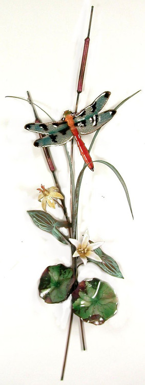 Dragonfly Orange Tailed with Lilies by Bovano of Cheshire Metal