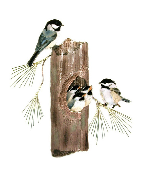 Chickadees Nesting by Bovano of Cheshire Metal