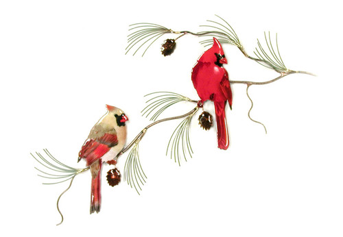 Cardinal Pair on Pine by Bovano of Cheshire Metal
