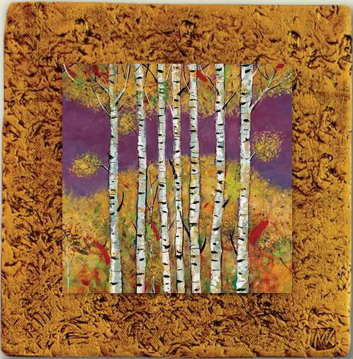 """""""Aspen Tile 02"""" by Miro and Maria Kenarov, 10""""x10"""" ready to hang."""