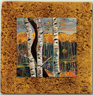"""Aspen Tile 04"" by Miro and Maria Kenarov, 10""x10"" ready to hang."