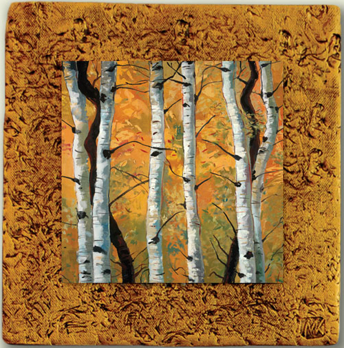 """Aspen Tile 05"" by Miro and Maria Kenarov, 10""x10"" ready to hang."