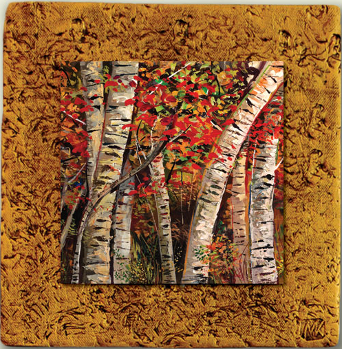 """Aspen Tile 09"" by Miro and Maria Kenarov, 10""x10"" ready to hang."