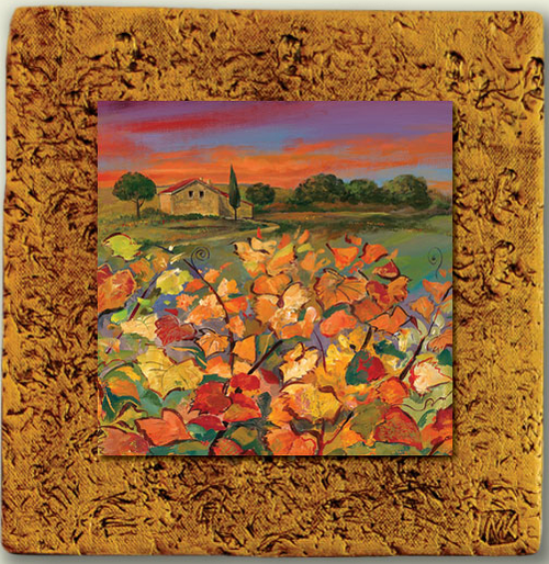 """Countryside Tile 02"" by Miro and Maria Kenarov, 10""x10"" ready to hang."