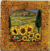 """Countryside Tile 05"" by Miro and Maria Kenarov, 10""x10"" ready to hang."