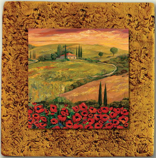 """Italy Tile 04"" by Miro and Maria Kenarov, 10""x10"" ready to hang."