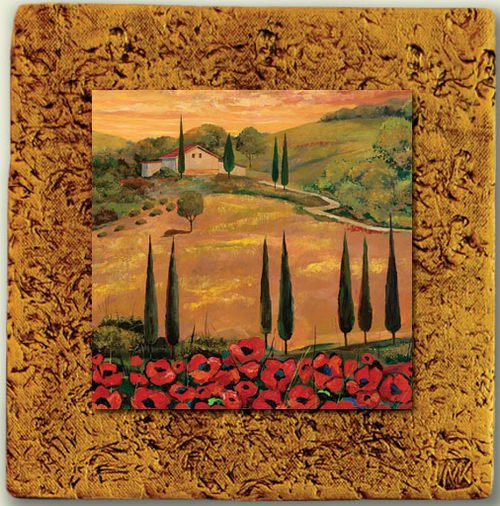 """Italy Tile 06"" by Miro and Maria Kenarov, 10""x10"" ready to hang."