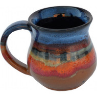 Small Mug in Azulscape glaze is completely functional : dishwasher, microwave and food safe.  Always Azul mugs are available in several glaze colors and decal options.