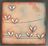 """Extroverts"" by Jenn Bell 4x4 glass on copper"