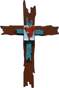 """""""Journey of Kindness"""" Cross by Redford Metal, rusted steel and recycled materials wall decor. 12"""" tall."""