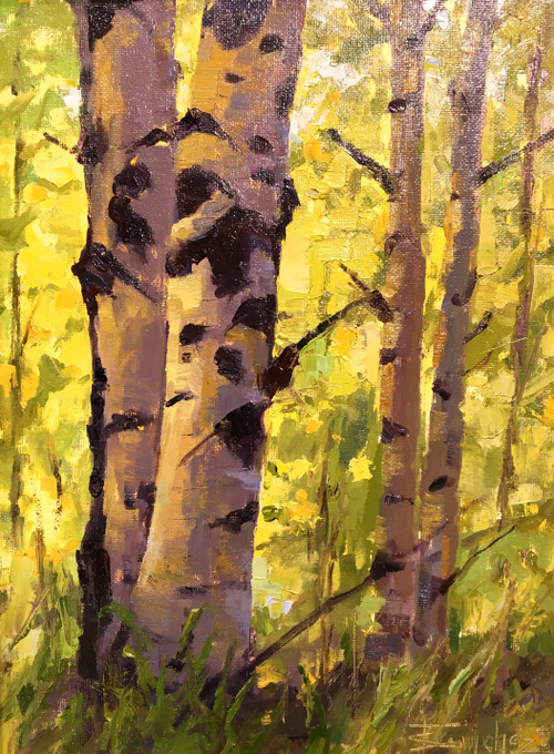 """Aspen Autumn Treasure"" by Terri Sanchez 9x12"