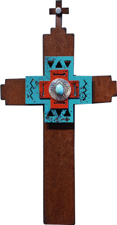 """""""Amazing Gift"""" Cross by Redford Metal, rusted steel and recycled materials wall decor. 12"""" tall."""