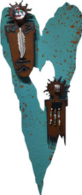 """""""Sisterhood"""" Heart by Redford Metal, rusted steel and recycled materials wall decor. 11"""" tall."""