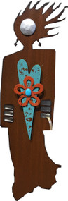 """Open-Hearted"" Spirit Woman by Redford Metal, rusted steel and recycled materials wall decor. 13"" tall."