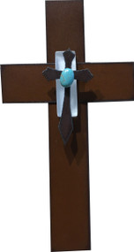 """""""Healing Love"""" Cross by Redford Metal, rusted steel and recycled materials wall decor. 7"""" tall."""