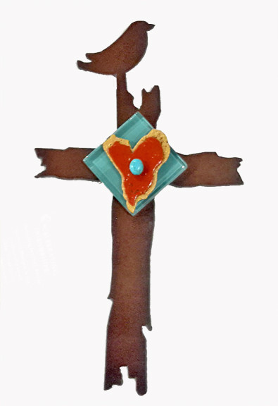 """'Celebrating Friendship' cross with driftwood edge by Redford Metal, 9"""""""