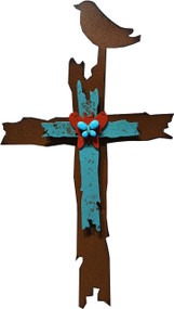 """Celebrating Faith"" Cross by Redford Metal, rusted steel and recycled materials wall decor. 12"" tall."