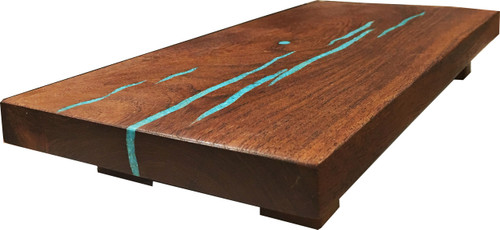 """Sushi Board with Turquoise Inlay by Ron and Christine Sisco. 14""""x6.5""""x2""""."""