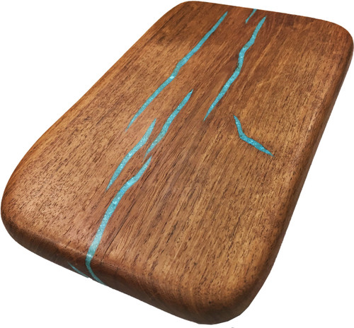 """Mini Board with Turquoise Inlay by Ron and Christine Sisco. 10.25""""x6.5""""x0.75""""."""