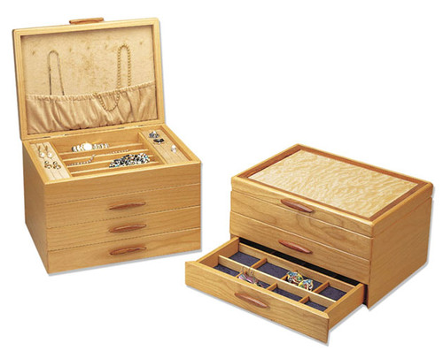 American made 1, 2, and 3 drawer wood jewelry boxes by Michael Fisher of Heartwood. Light Pearl lining (Left) or Dark Sapphire lining (Right)