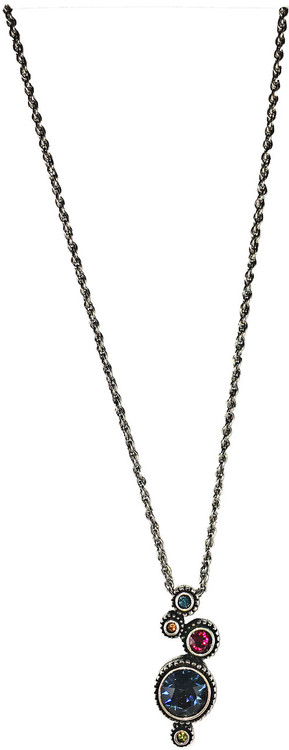 """Simple Gift Necklace in Joy by Patricia Locke Jewelry based in Mundelein, IL. Sterling silver chain with a Swarovski crystal set in sterling silver. 0.25""""x 1.125"""" pendant on 18"""" chain."""