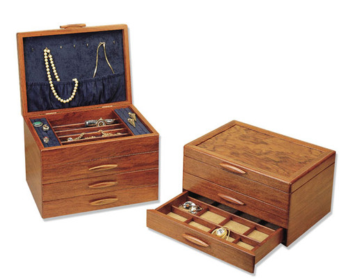 American made 1, 2, and 3 drawer prairie style wood jewelry boxes by Michael Fisher of Heartwood.