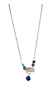 "Bubble Necklace with Tanzanite by Anna Balkan. Sterling silver with semi-precious stones, 16"" in length with 1"" extender."
