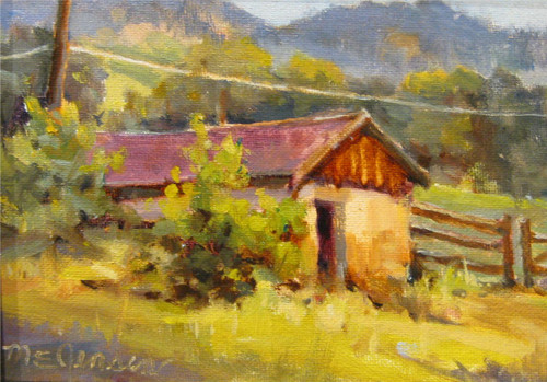 """Root Cellar at MacGregor Ranch"" by Margaret Jensen.  Oil, 6""x8"""