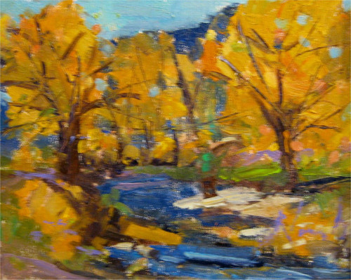 """Down by the River (Estes Park)"" Dawn Normali  9x12"