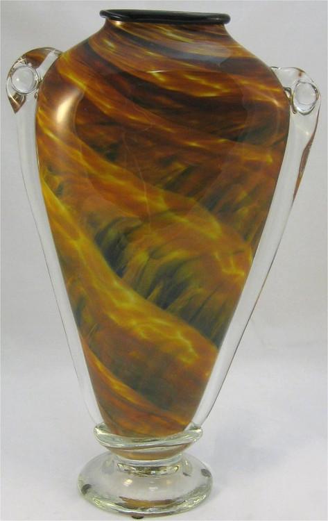 """""""Shoulder Vase in Amber, Black and Gold"""" by Mark Rosenbaum"""