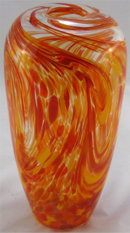 """Tall Puff Vase in Hot Mix"" by Mark Rosenbaum, Rosetree Glass"