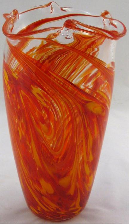 """Pinch Vase in Hot Mix"" by Mark Rosenbaum, Rosetree Glass"