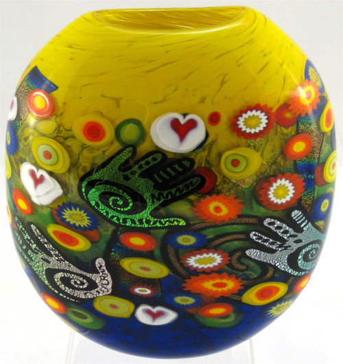 """Disk Vase in Creative Hand"" by Michael Maddy & Rina Fehrensen, Mad Art Studio"