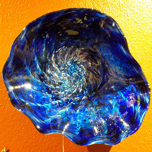"Healing Waters 18""  Glass Sculpture by Marty White Elk Holmes- This piece ships with a wire wrap and can be hung with a weight appropriate picture hook just like you would a painting or photograph.   Each piece is individually hand blown and one of a kind. All pieces are created, signed and dated by the glass artist, White Elk"
